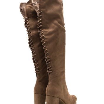 Hit Reverse Lace-Up Block Heel Boots