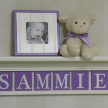 "Purple Nursery Decor Wall Shelves, Personalized with 6 LILAC Letter Blocks, Baby Name SAMMIE on 30"" Linen White Shelf"