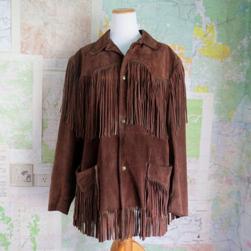 Vintage Boho Hippie Leather Fringed Jacket Coat Brown  44R