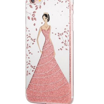 2017 For Apple iphone 6s Electroplated mirror case Wedding dress Hang rope cases 02 -171204