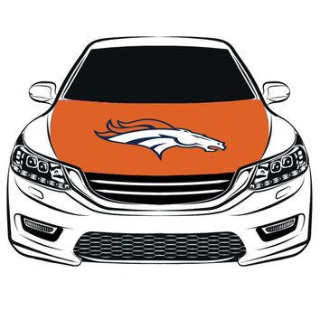 Denver Broncos Hood Cover flag, 100% spandex,Four side projectile fabric,Car Bonnet Banner free shipping  Engine Flag