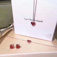 Van Cleef & Arpels New fashion love heart sterling silver necklace earring bracelet
