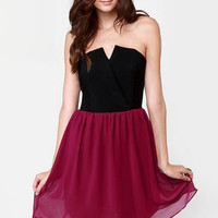 Run Me Jagged Strapless Black and Burgundy Dress