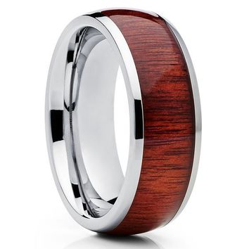 Koa Wood Tungsten Ring - Tungsten Wedding Band - 8mm Tungsten Ring - Koa Wood Ring