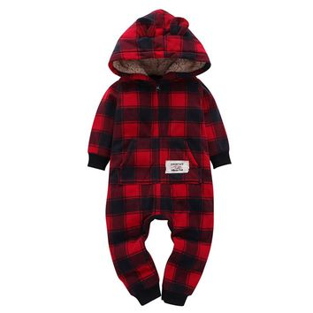 Infant Baby Boys Girls Thicker Grid Hooded Romper Jumpsuit Outfit Kids Clothes Long Sleeve Plaid Baby Rompers Small ears Warm