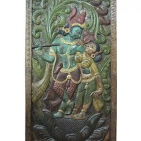 Wall Panel Dancing Krishna Radha Hand Carved Door Panels