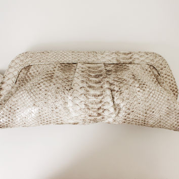 Faux Snakeskin Leather Clutch Bag