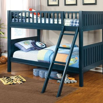 Furniture of america CM-BK615 Azure collection dark blue finish wood twin over twin convertible bunk bed with paneled head and foot boards