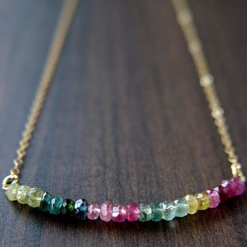 Multi Tourmaline Gold Necklace