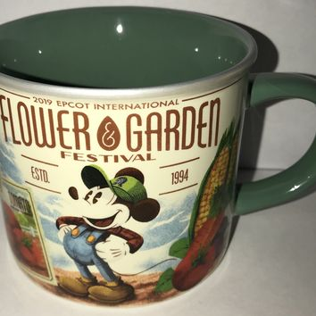 Disney Epcot Flower & Garden 2019 Mickey and Friends Seed Company Coffee Mug New