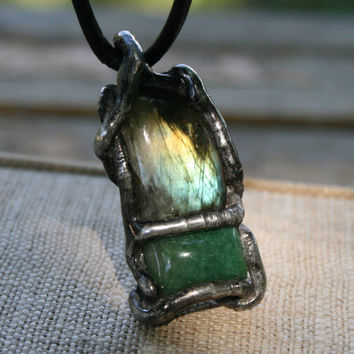 men necklace, mens raw necklace, emerald necklace, men pendant, labradorite necklace, goth necklace, healing properties, rustic necklace