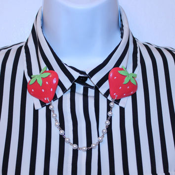 red strawberry collar pins or sweater clips