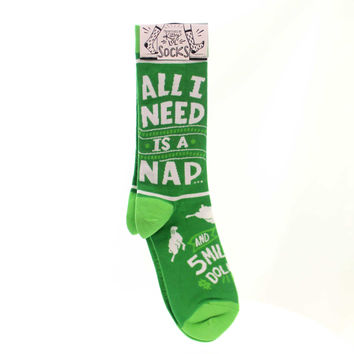 Novelty Socks NAP AND 5 MILLION SOCKS Fabric Dollars Sheep 34068