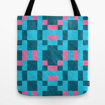 Teal Pink Pixel Pattern Tote Bag by Likelikes | Society6