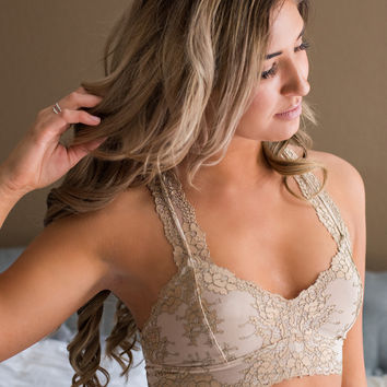 Hideaway Two Toned Lace Racer Back Bralette (Nude)