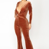 Jump In The Cadillac Velvet Jumpsuit - Rust