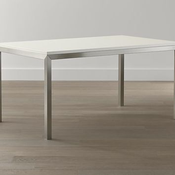 White Top/ Stainless Steel Base Parsons Dining Tables