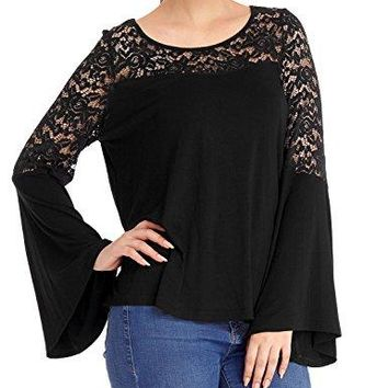 GRAPENT Womens Casual Floral Lace Loose Long Bell Sleeves Black Tops Blouse