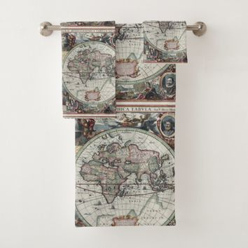 Antique World Map Towel Set