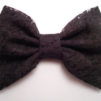 Black Lace Fabric Hair Bow, Girl Hair bow