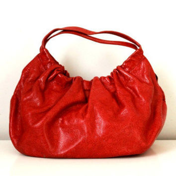 Embossed Red Leather Hobo Bag - Medium Sized Bag - In Excellent Cond. - By Hype