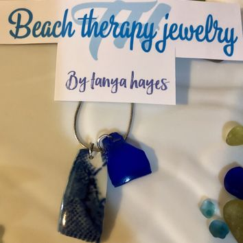 Cobalt Blue Sea Glass Necklace w/Japanese Pottery Sea Glass