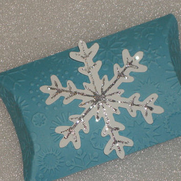 Glittered Snowflake Pillow Favor Box for Weddings, Frozen Birthday Parties, Pillow Box