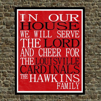 Customized Name Louisville Cardinals personalized family print poster Christian gift sports wall art - multiple sizes