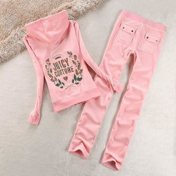 Juicy Couture Logo Sequin Velour Tracksuit 2125 2pcs Women Suits Pink
