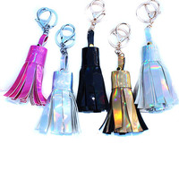 Holographic Faux Leather Tassel Keychain