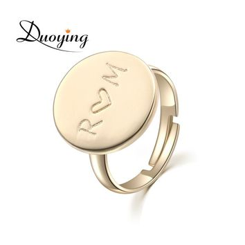 DUOYING Gold Custom Ring Engraving Name Personalized Ring Handmade Adjustable Jewelry Lord Ring For Friend Initial Ring for Etsy