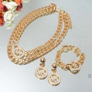 2014 Hot Fashion Gold Charm Michael Logo Thick Chain Necklace/Earrings/Bracelet Jewelry Set For Women,original factory supply