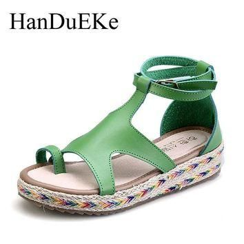 HanDuEKe New 2017 Bohemia Fashion Gladiator Sandals Summer Wedges Platform Sandals Wom