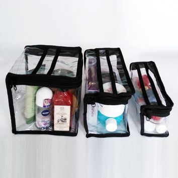 Fashion Make Up Bag PVC Clear Transparent Waterproof multifunctional cosmetic organizer