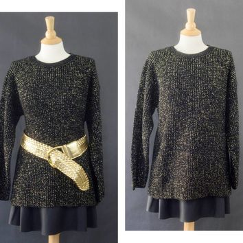 90s Oversized Metallic Gold Sweater, Black Tunic Sweater, Bobbie Brooks Sweater, Glitter Soft Goth Sweater, Women's Size Small Sweater