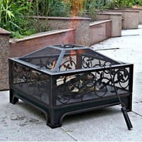 Steel Fire Pit Outdoor Decorations Patio Furniture Fireplace Metal Heater Garden