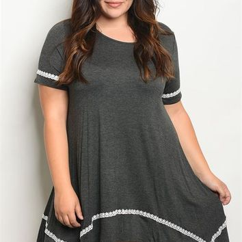 Women Plus Size Stretch Relaxed Shark Bite Dress Tunic Black Gray Layer Chic