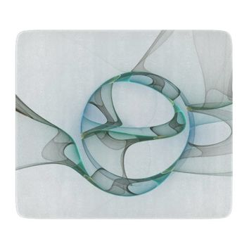 Fractal Art Blue Turquoise Gray Abstract Elegance Cutting Board