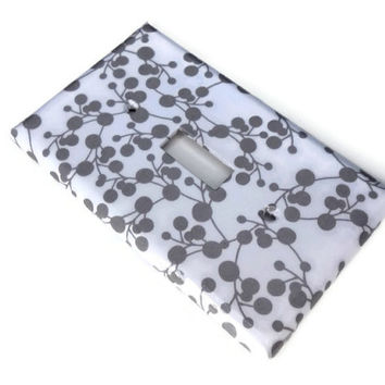 White and Grey Single Light Switch Plate, Paper Decoupage, Varnished