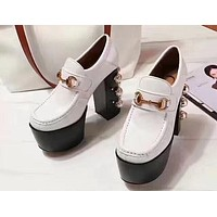 GUCCI 2018 high quality pearl with Shuitai platform shoes F-OMDP-GD white