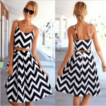 2pcs. Sexy Fit and Flare Stripe Backless Dress