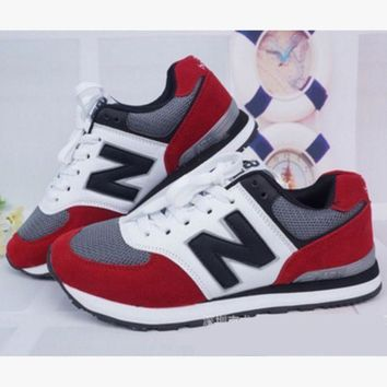 ONETOW fashionable new balance women men comfortable leisure sports shoes dark blue red n