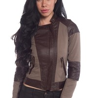 Hit the Road Two Tone Faux Leather Biker Jacket - Cappuccino