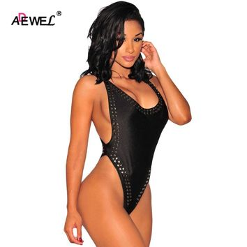 ADEWEL Hot selling Cross Back Studded High Cut Bodysuit Summer Style Black&Pink women rompers Backless Short Jumpsuit LC32036