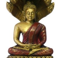 Buddha in Meditation with Protective Naga Snake Statue 5H