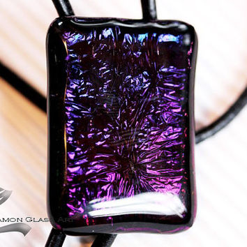 Necktie, Bolo Tie , Valentine's gift for men, Purple Fused dichroic glass rectangle on leather cord