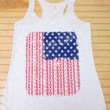 Tri Blend Racerback Tank Top Aztec Pattern USA Flag 4th Of July