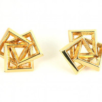 80s GEOMETRIC art deco hipster earrings gold by TheBabyDynosaur