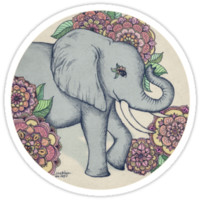 Little Elephant in soft vintage pastels