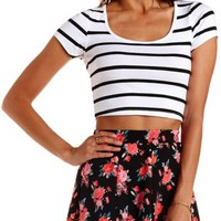 White Combo Stretch Cotton Striped Crop Top by Charlotte Russe